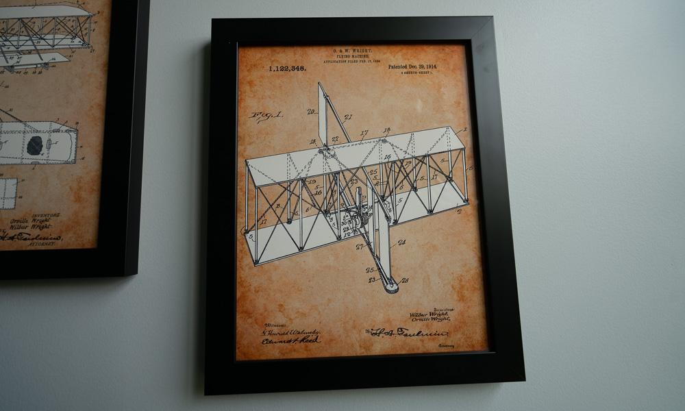 framed old flying machine diagram