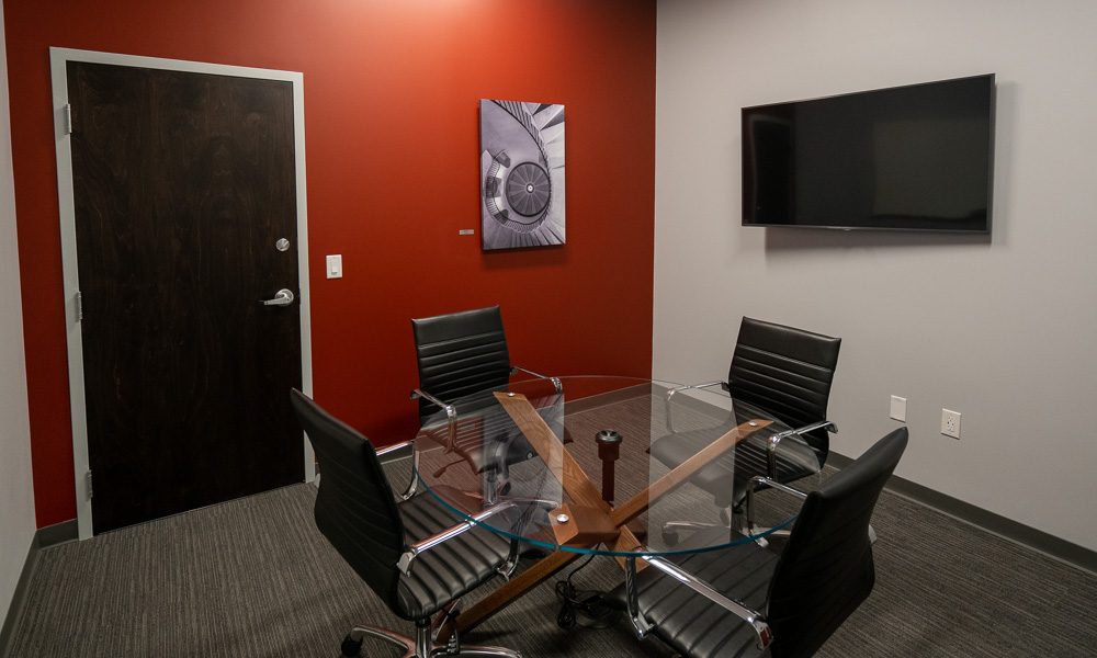 Conference Room with black leather chairs