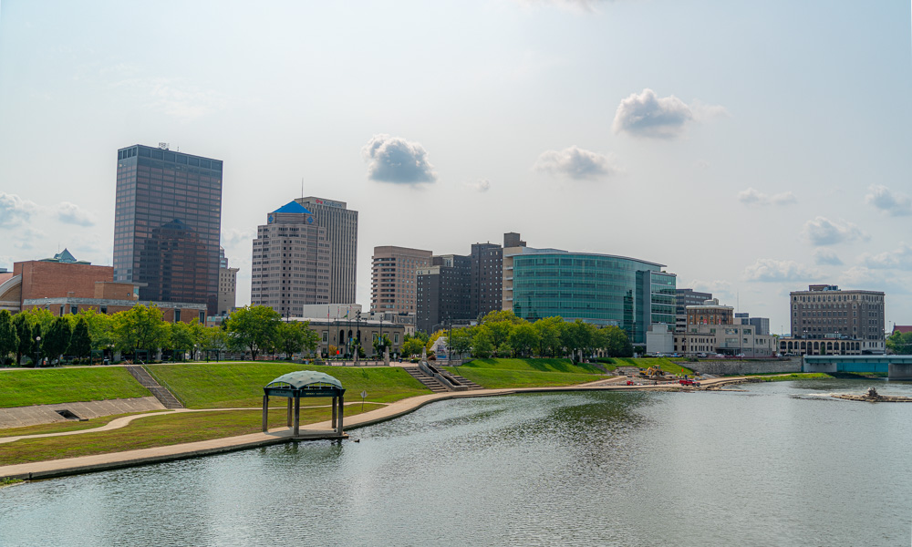 Dayton Cityscape View from river