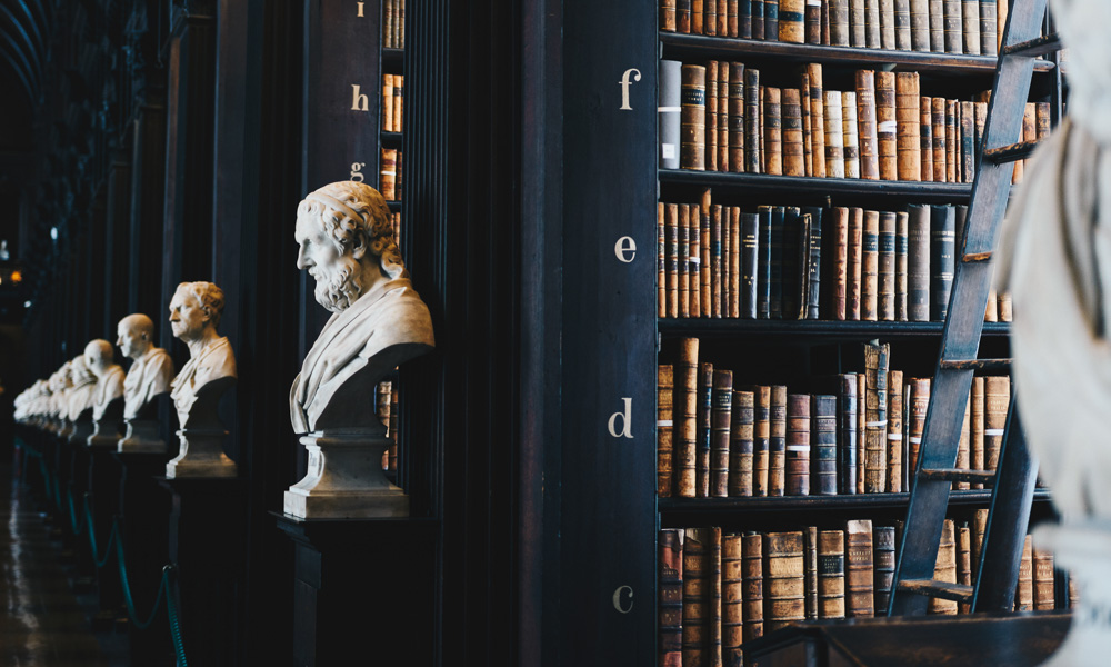 bust statues in a library